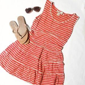Max Studio Peach and White Scalloped Striped Dress